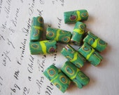 10 vintage millefiore glass african trade beads - green with yellow stripe