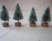 6 miniature bottle brush trees - 1.5 inches - green, flocked, sisal