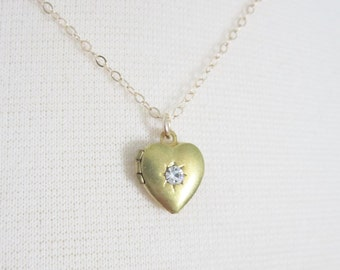 Heart locket with crystal star on gold filled chain, delicate modern jewelry SALE