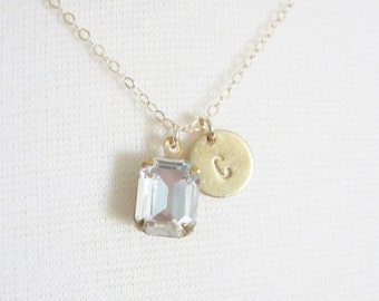 Vintage rhinestone and initial necklace, delicate modern jewelry