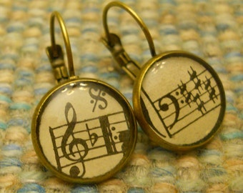 Vintage Sheet Music Earrings: Music Lover, Music Jewelry, Gift For Her, Music Notes, Music Clef, Treble & Bass Clefs, Smooth Rim, Gift Box