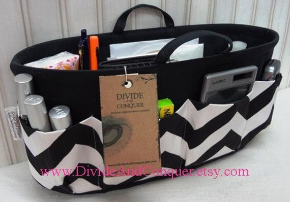 Purse ORGANIZER insert SHAPER with handles / Black & White Chevron / Sturdy / 5 sizes available / Bag Organizer