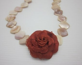 Victorian Silk Rose Surrounded by Mother-of-Pearl Jewelry Necklace
