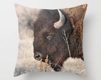 Bison Pillow Cover, Throw Pillow, Cabin Decor