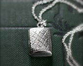 Sterling Silver Locket Necklace, Double Side Engraved Photo Pendant - Quilted and Quaint