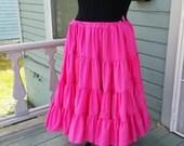 Long  Hot Pink Fuschia 25 Yard Hem Cotton Pirate or Gypsy Skirt Petticoat Victorian Steampunk Wedding Bridal Ruffle Mourning