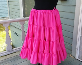 Long  Hot Pink Fuschia 25 Yard Hem Cotton Pirate or Gypsy Skirt Petticoat Victorian Steampunk Wedding Bridal Ruffle Mourning