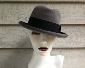 HUDSON'S BAY STETSON 50s Vintage Fedora Hat In Grey And Black