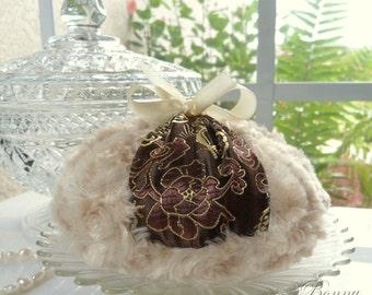 Powder Puff  -  chocolate and brown sugar satin brocade - medium size - gift boxed