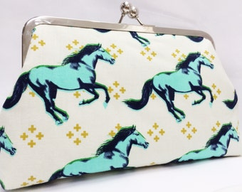 clutch purse - mustang in aqua  -   8 inch metal frame clutch purse - horse - large clutch - stallion - kiss lock clutch - cotton and steel