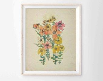 "Watercolor and Ink Flowers Archival Print  - Modern Bohemian Art, 8""x10"", 5""x7"", 9""x12"" or 11""x14"""