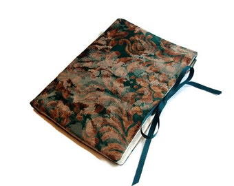 Case Circular Knitting Needles Green Brown Floral Ribbon Closure Multiple Pockets Book Fold Needle Storage Organizer