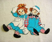"""Vintage Raggedy Ann & Andy Iron On Appliques -Hand Cut Fusible or Sew on - Large 8"""" x 8.5"""""""