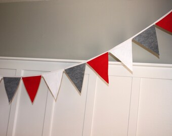 12 Foot Felt Bunting Banner - Red, Gray, White