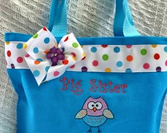 Big Sister bag with Owl-  Personalized at NO additional charge!