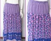 Vtg.70/80s Cotton Indian Block Print Blue Lilac Pink Floral  Print Maxi Skirt.M.Waist 30-38.