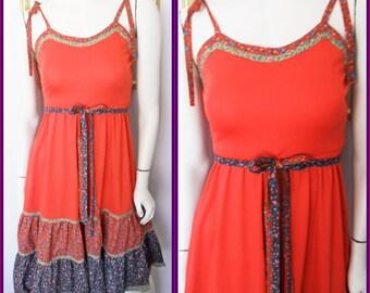 Vtg.70s Jody T California Red Blue Green Calico Prairie Sun Dress.S.Bust 32-34.Waist 26-28.