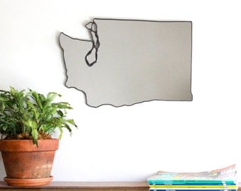 Washington State Mirror Wall Mirror Seattle WA Shape Outline Art San Juan Islands Modern Seattle Seahawks