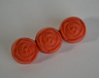 Vintage 1930s Coral Floral Brooch - Rosette Pin - Gatsby Fashions