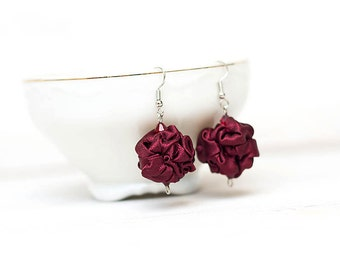 Burgundy fabric bead earrings Dark red earrings