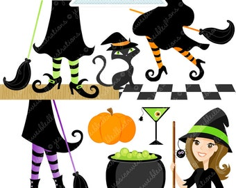 Witching Hour Cute Digital Clipart - Commercial Use OK - Witch Clipart, Witch Graphics, Witch Feet, Digital Art