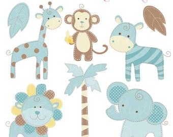 Blue Baby Pastel Safari Cute Digital Clipart - Commercial Use OK - Baby Safari Clipart - Blue Safari Animal Graphics