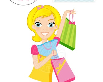 BLONDE Deal Shopper Woman Character Illustration - Commercial Use OK - Woman Shopping, Woman with Shopping Bags