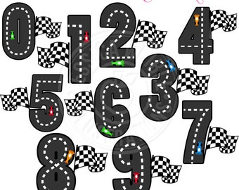 Race Track Numbers Cute Digital Clipart - Commercial Use OK - Racing Clipart, Go Cart Graphics