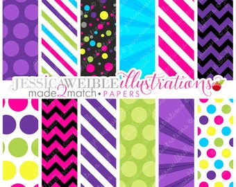 Made 2 Match: Dance Party Cute Digital Paper Backgrounds for Commercial or Personal Use, Retro Neon Papers, Patterns