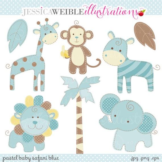Blue Baby Pastel Safari Cute Digital Clipart Commercial Use