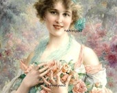 Lady with Peach Roses Downloadable Printable Digital Image Instant Download