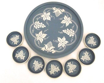 Vintage Metal Tray and Coasters Set in French Blue with Ivory Grapes Design