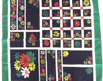 Vintage Ladies Lit Brother Flowered Scarf in Green and Navy Blue D2