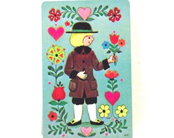 Vintage Illustrated Stardust Plastic Coated Pinochle Playing Cards with Pennsylvania Dutch Boy Illustration, Complete Deck