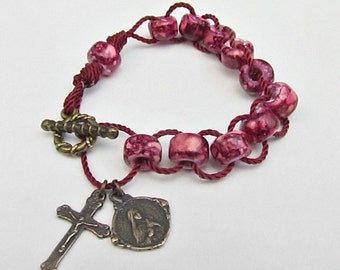 Sacrifice Beads Good Deed Beads Rose Red Rosary Bracelet St Therese Medal