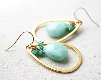 Light Green Earrings, Gemstone Jewelry, Pastel Earrings