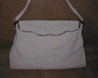 Vintage WHITE Beaded Evening Bag Purse circa 1940