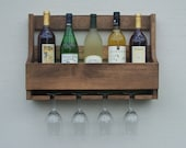 Rustic Wall Mount Wine Rack, Holds 6 Bottles And 4 Glasses Walnut Finish