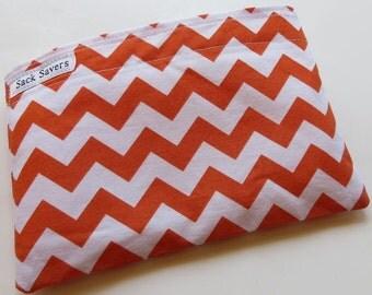 Reusable Eco Friendly Sandwich or Snack Bag Orange Chevron