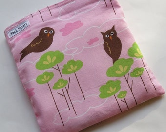 Reusable Eco Friendly Sandwich or Snack Pink Owls