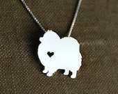 Pomeranian necklace, sterling silver hand cut pendant with heart, tiny dog breed jewelry