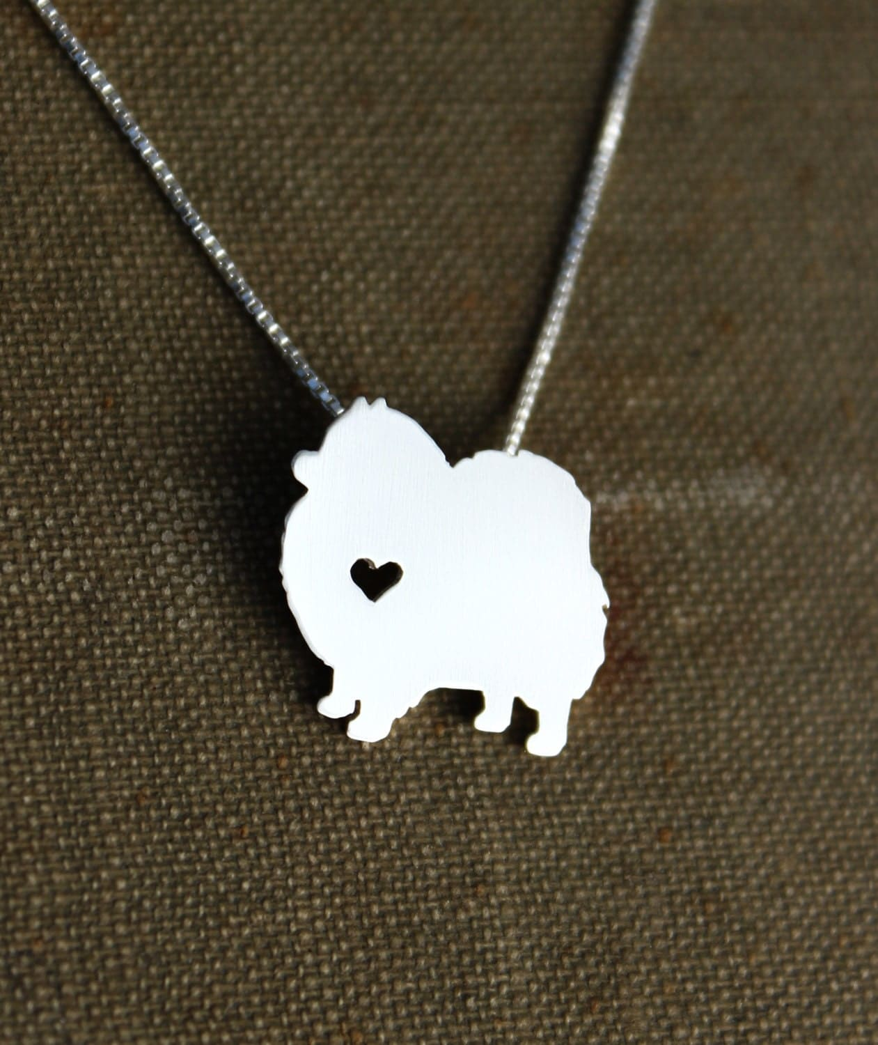 silver pomeranian pomeranian necklace sterling silver hand cut by 8808