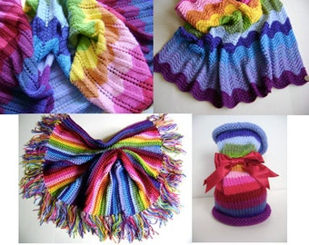 Knitting in Technicolor Patterns - All Four Patterns for One Low Price - Perfect for the Newbie Knitter