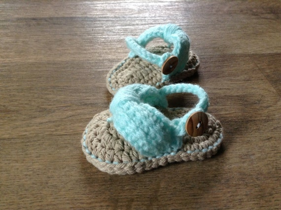 Crochet Baby Sandals, Baby Flip Flops, Crochet Baby Shoes, Sizes 0-6 Months and 6-12 Months
