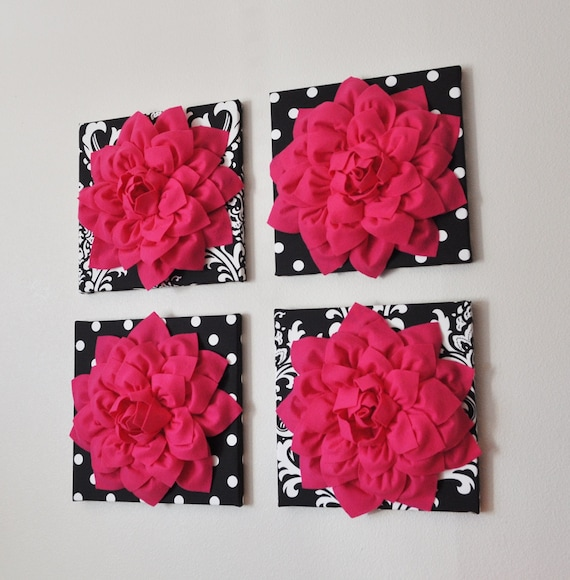 wall decor set of four hot pink dahlias on black and white