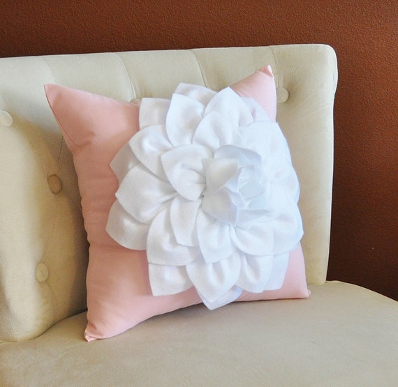 Throw Pillow White Dahlia on Light Pink Pillow 14x14 by bedbuggs