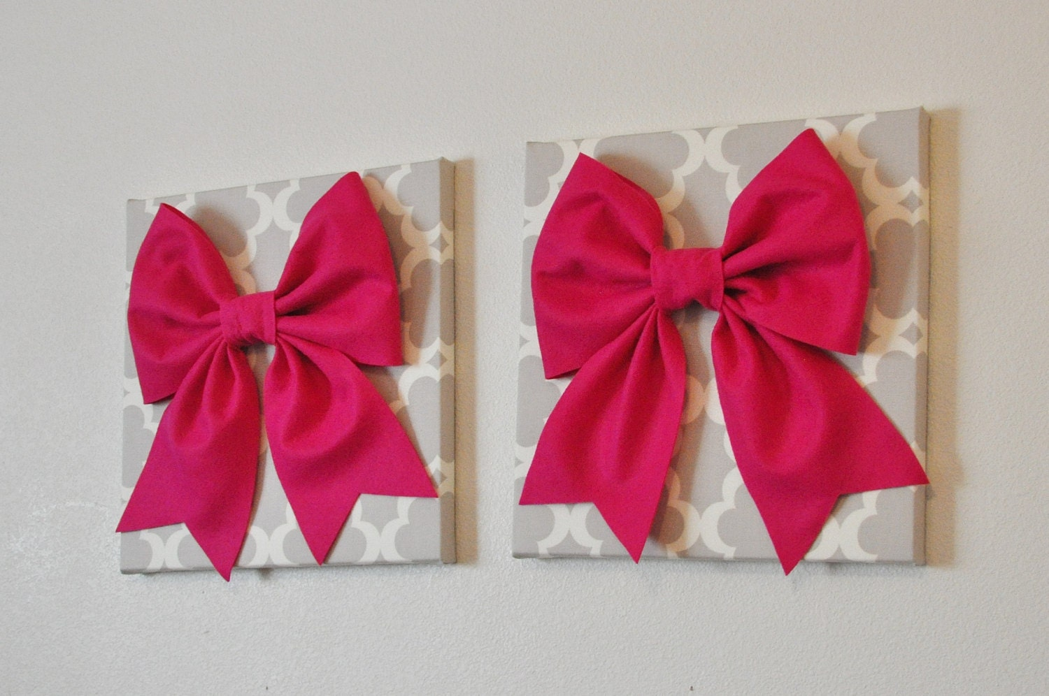 Home Decor TWO Bow Wall Hangings Large Hot Pink Bows on