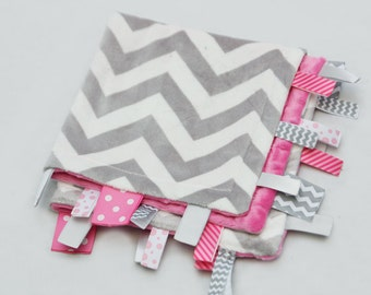 Baby Ribbon Tag Blanket - Minky Binky Blankie - Grey and White Chevron with Pink