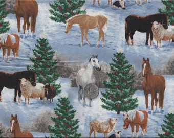 """Chirstmas Horses Sheep Shetland Pony I Spy Fabric """"The Gift """" Wild Wings  By the Fat Quarter BTFQ"""