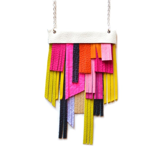 Neon Bib Necklace, Hot Pink Necklace, Leather Fringe Necklace, Geometric Necklace, Orange, Yellow, Neon Green and Black Modern Necklace